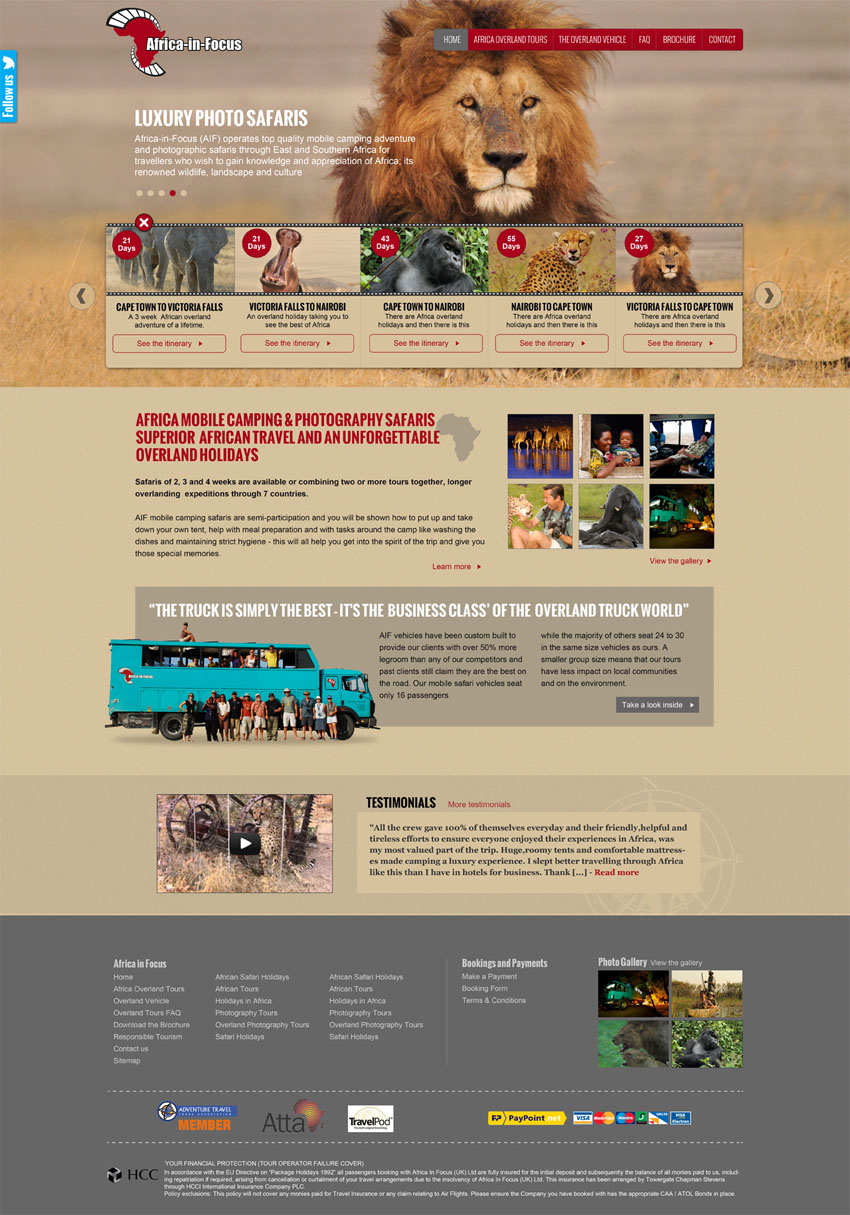 Africa in Focus Website design