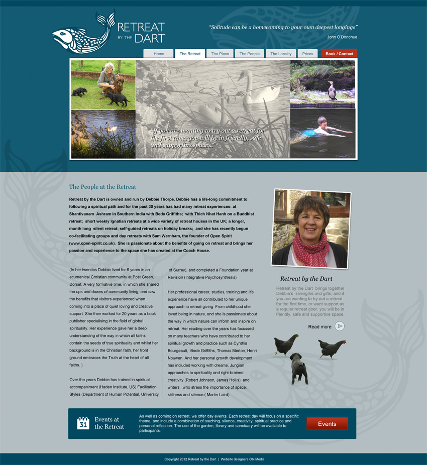 Retreat by the Dart Website design